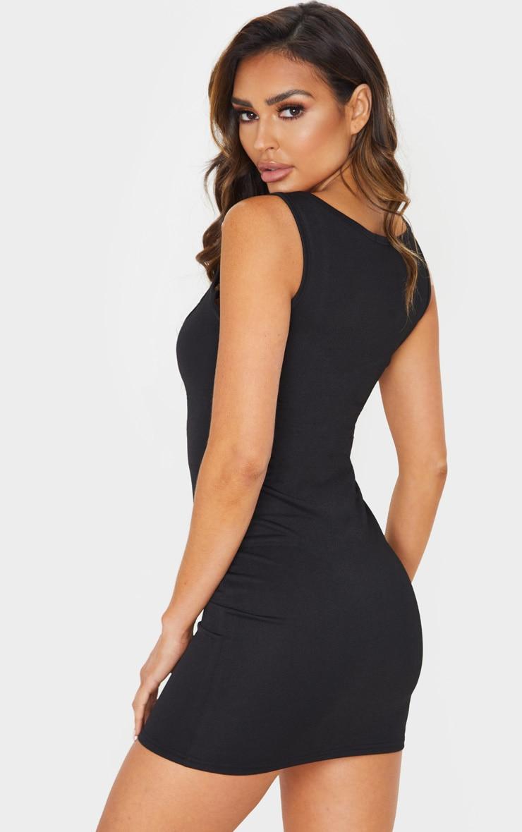 Black Thick Strap Square Neck Bodycon Dress 2