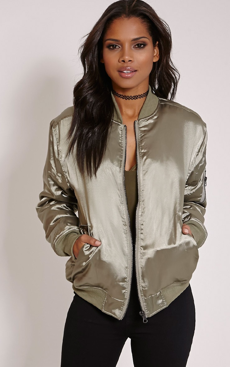 Cruz Khaki Satin Oversized Bomber Jacket 1
