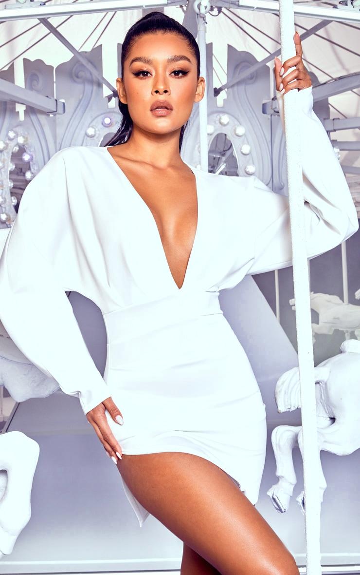 White Pleated Balloon Sleeve Bodycon Dress 1