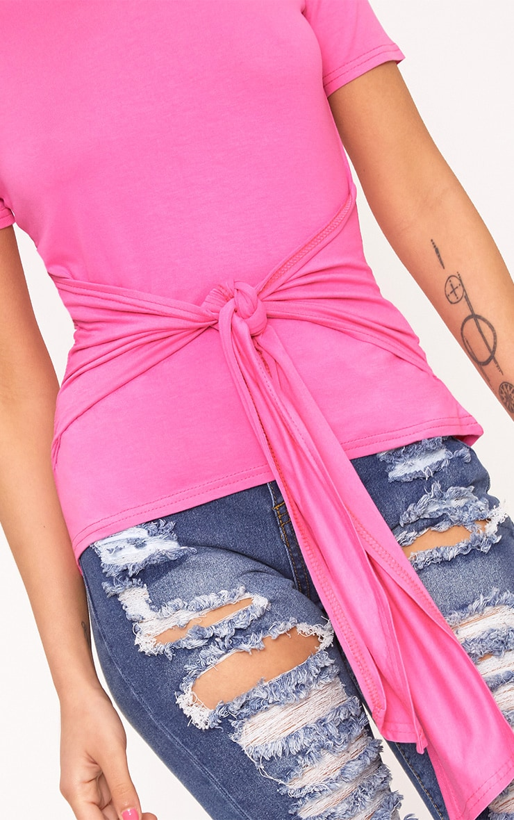 Hot Pink Tie Front T-Shirt 5