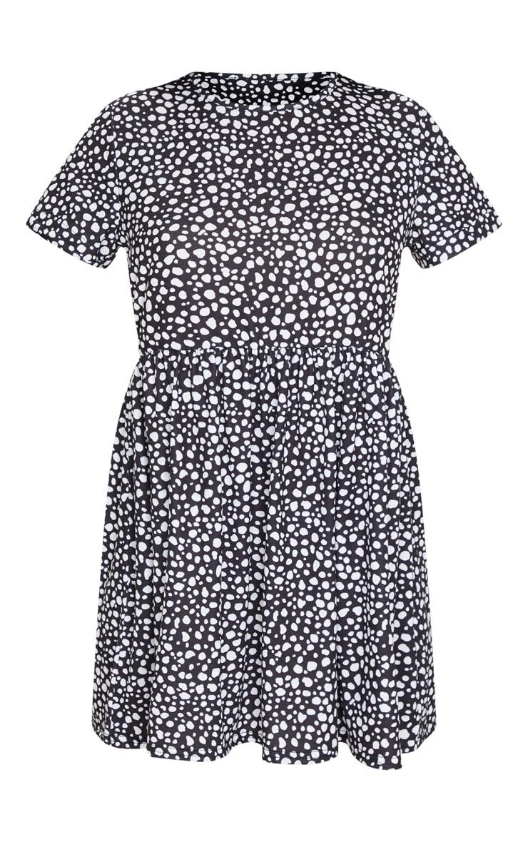 Black Dalmatian Print Short Sleeve Smock Dress 5
