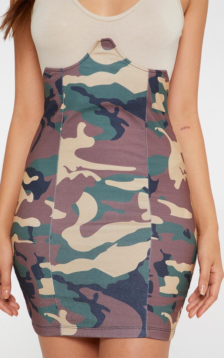 Khaki Camo Print Bustier Skirt 4