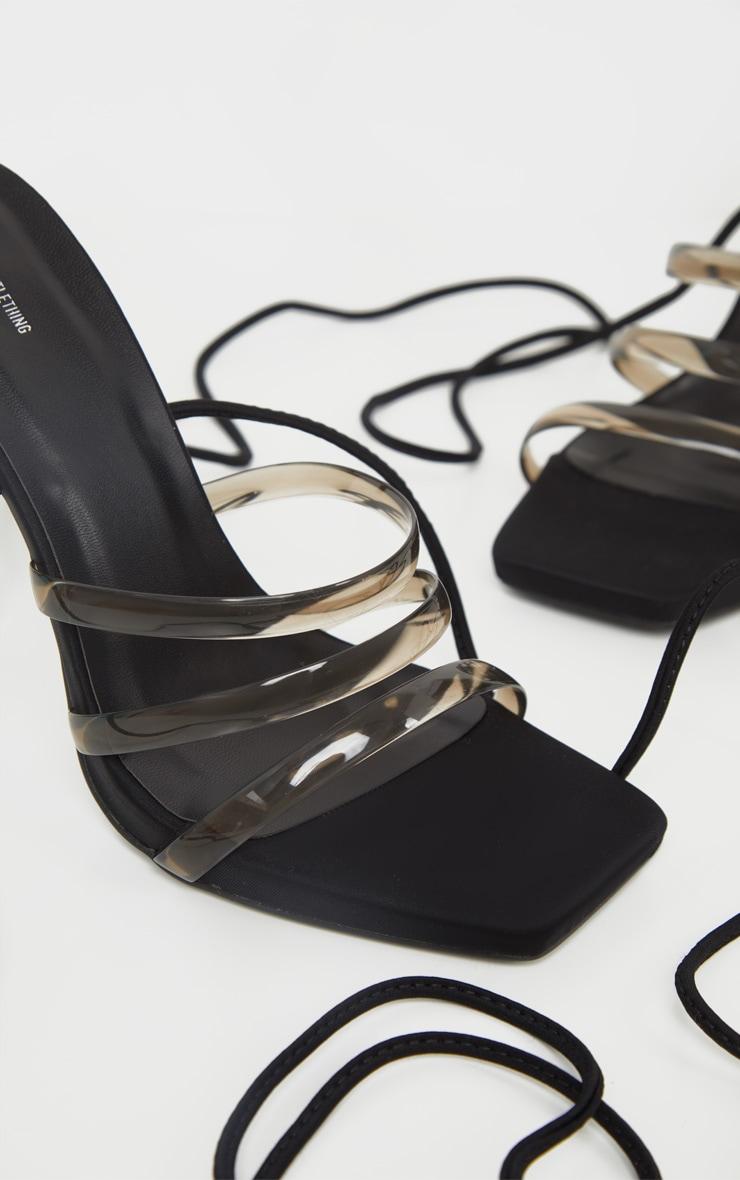 Sandales noires pointure large à brides transparentes et lacets cheville 4
