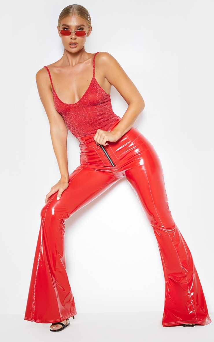 Red Textured Glitter Strappy Bodysuit 6
