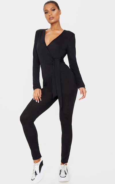 Black Wrap Front Tie Waist Knitted Jumpsuit