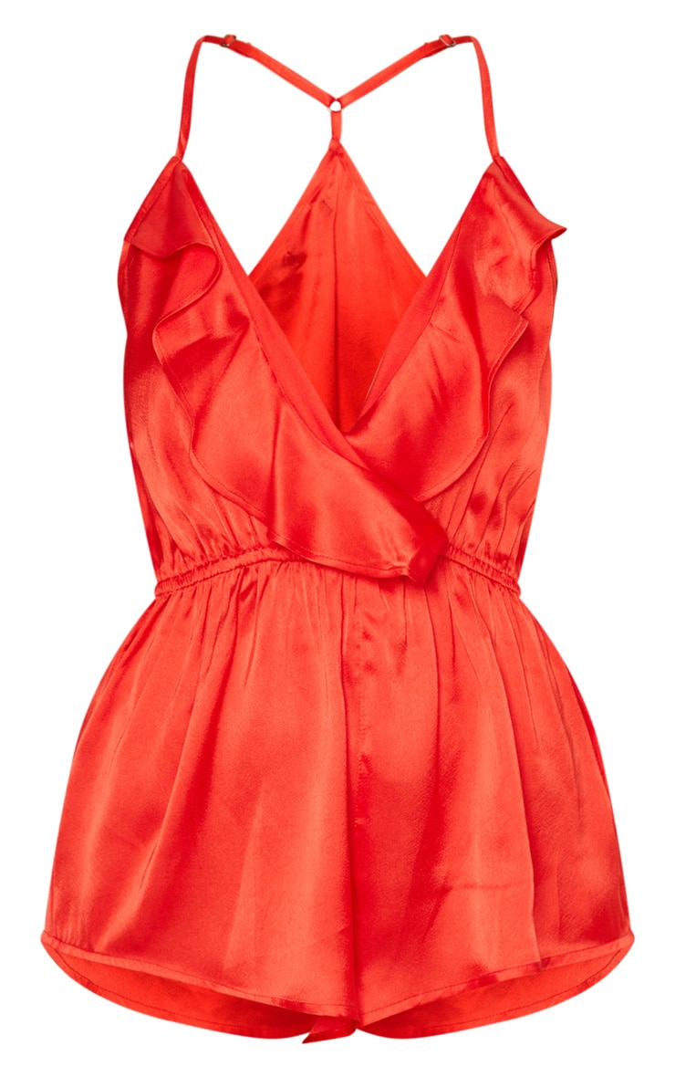 Red Satin Frill Teddy 3