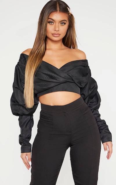 Black Woven Puff Sleeve Crop Shirt