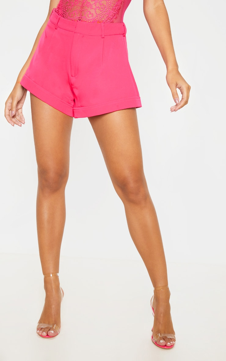Hot Pink Woven Turn Up Hem Structured Short 3