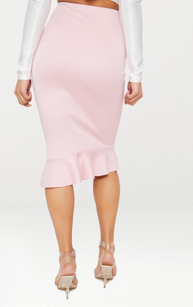 Dark Rose Scuba Asymmetrical Frill Hem Skirt 2