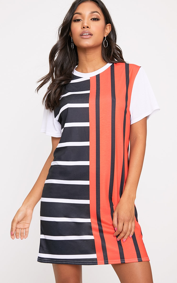 White Contrast Stripe T Shirt Dress 1