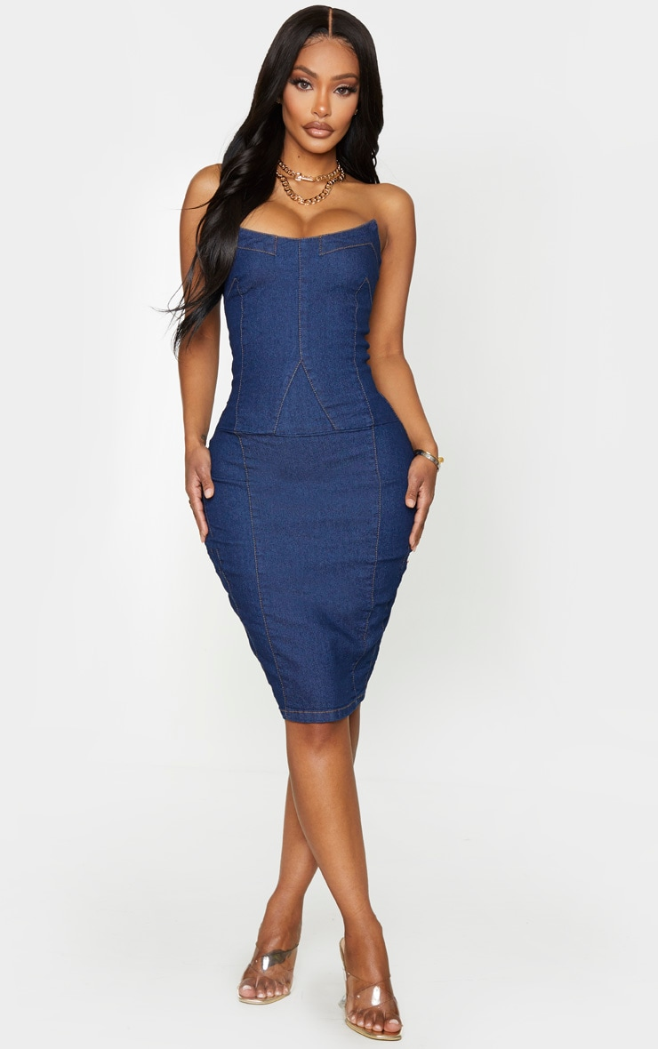 Shape Dark Wash Denim Curved Bust Midi Dress 3