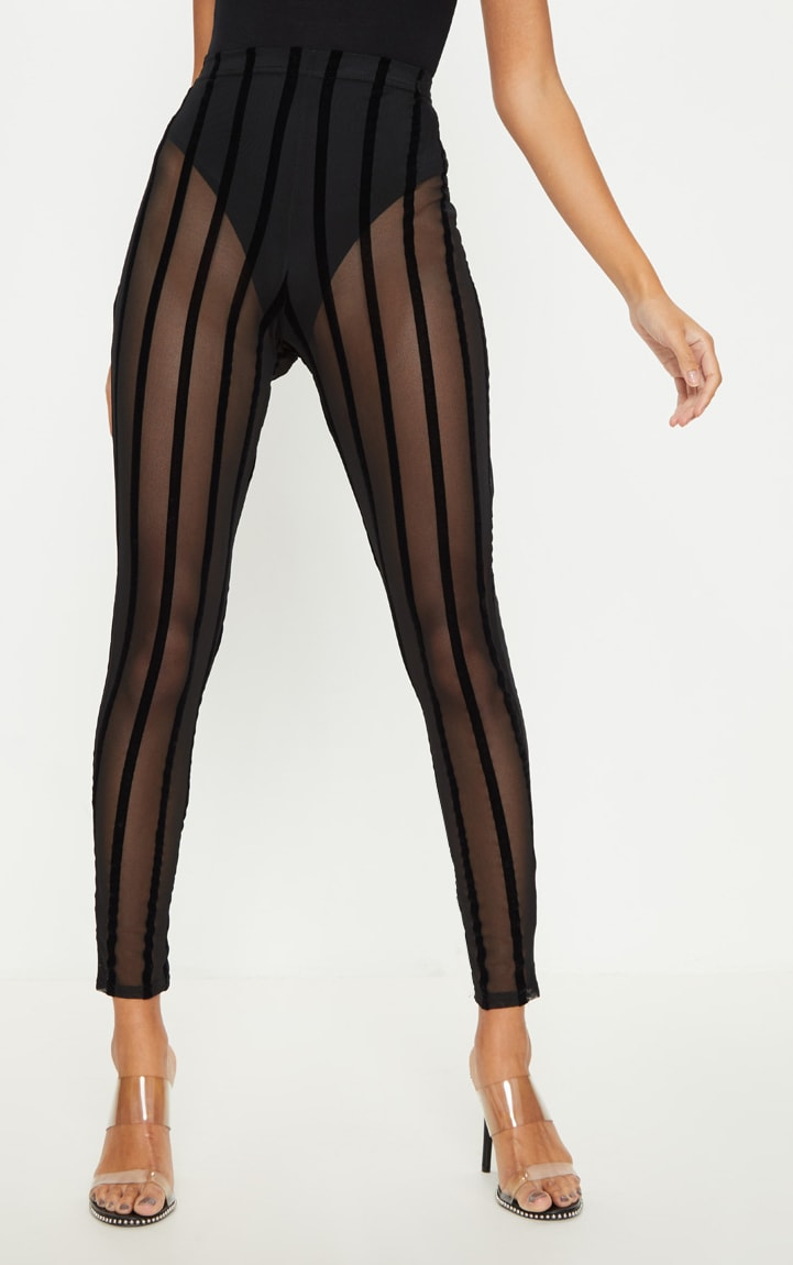 Black Mesh Stripe Legging 3