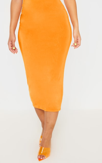 Hot Orange Second Skin Slinky Longline Midi Skirt