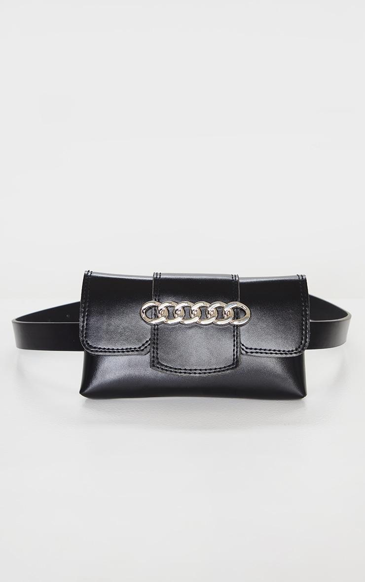 Black PU Chain Detail Belt Bag 2