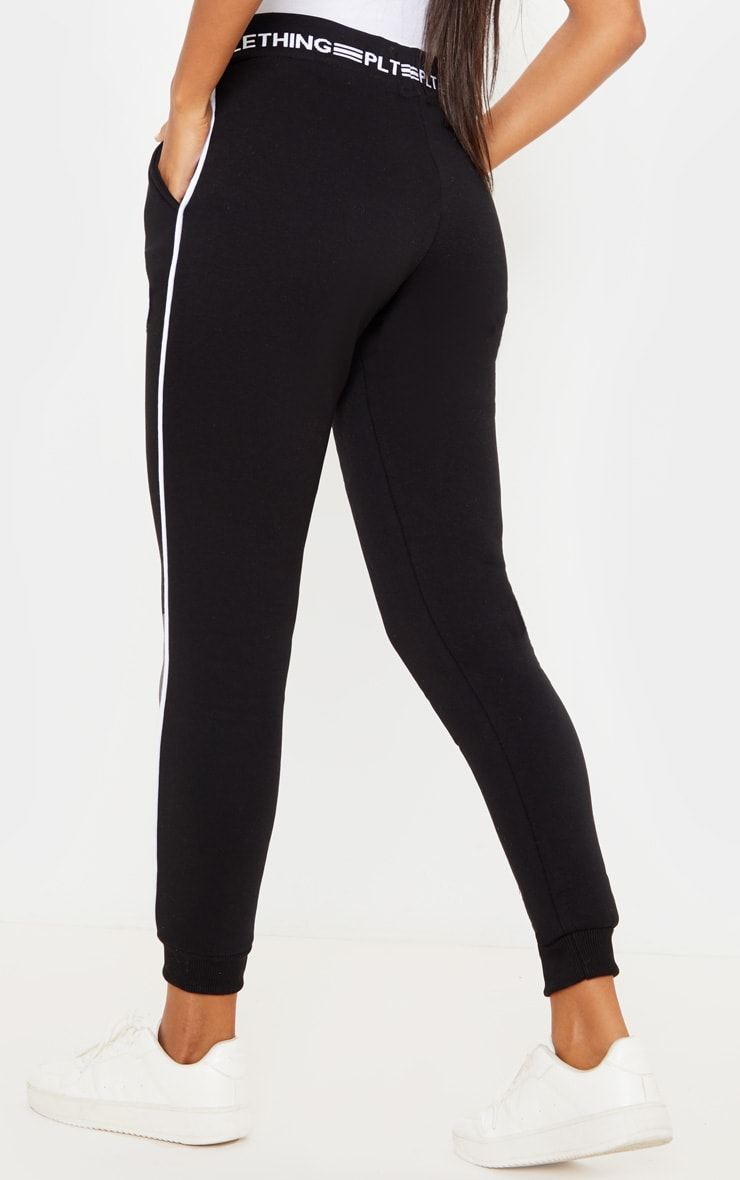 PRETTYLITTLETHING Black Contrast Piping Cuff Joggers 4