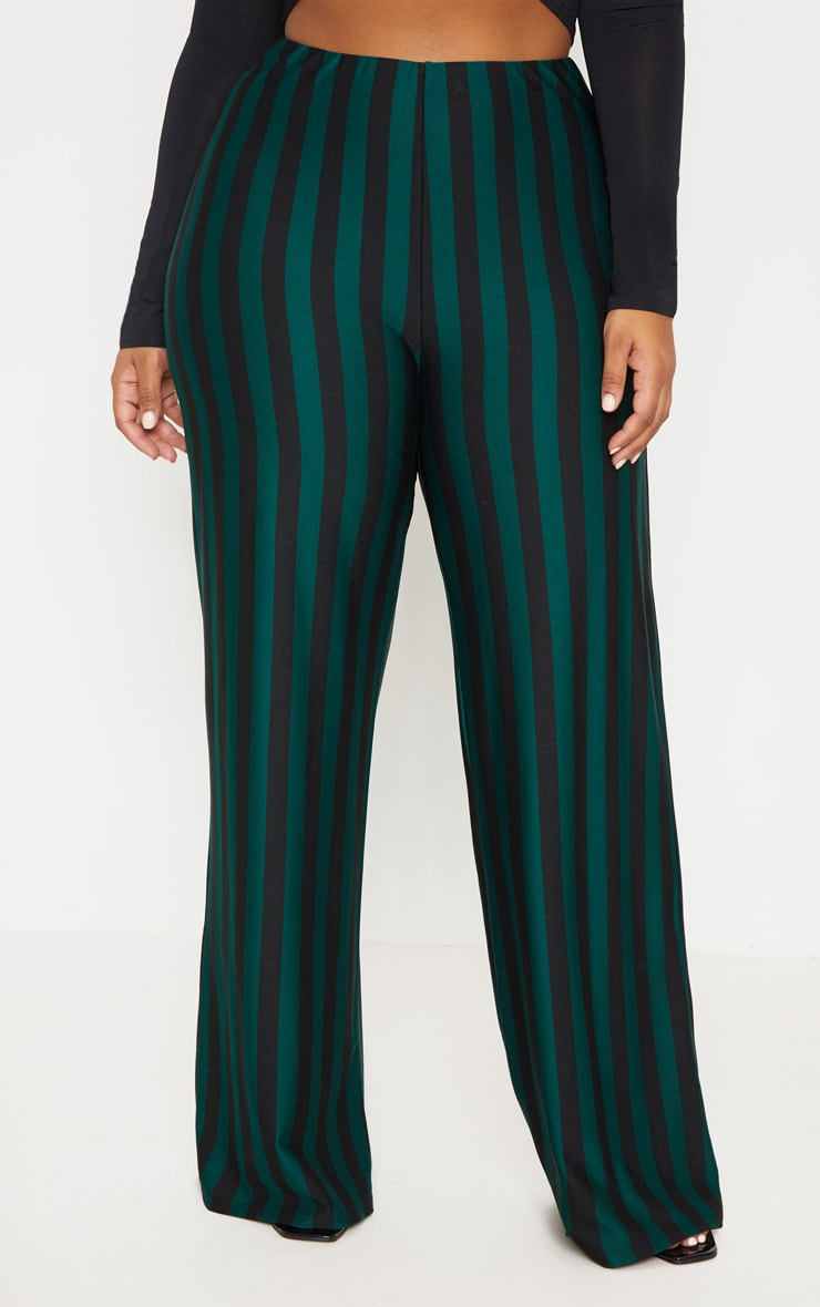 Plus Emerald Green High Waisted Crepe Stripe Wide Leg Pants 2