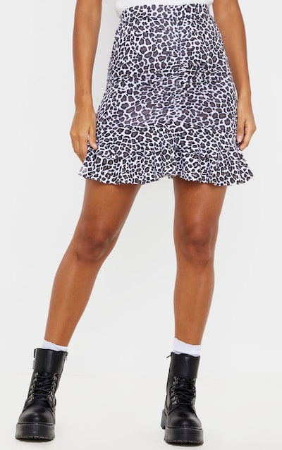 Leopard Print Ruched Frill Hem Mini Skirt