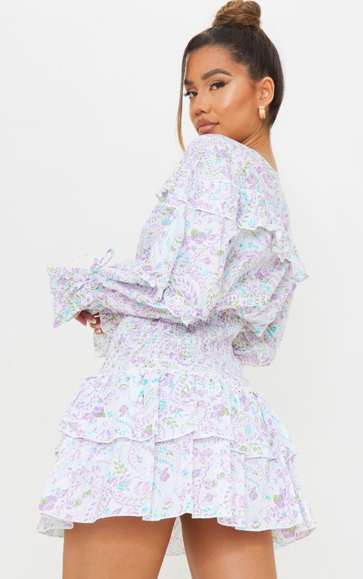White Floral Print Shirred Waist Frill Detail Shift Dress 2