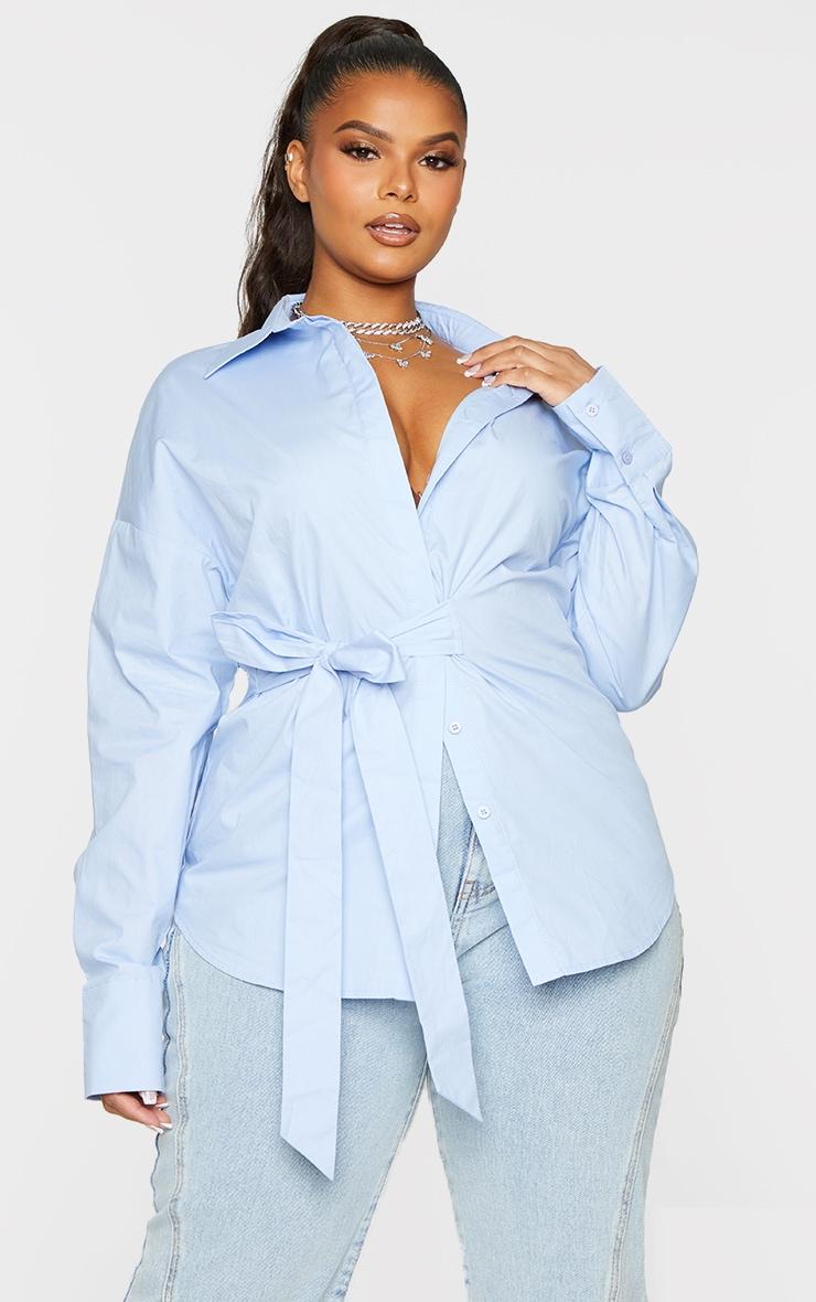 Plus Blue Tie Side Detail Poplin Shirt 3