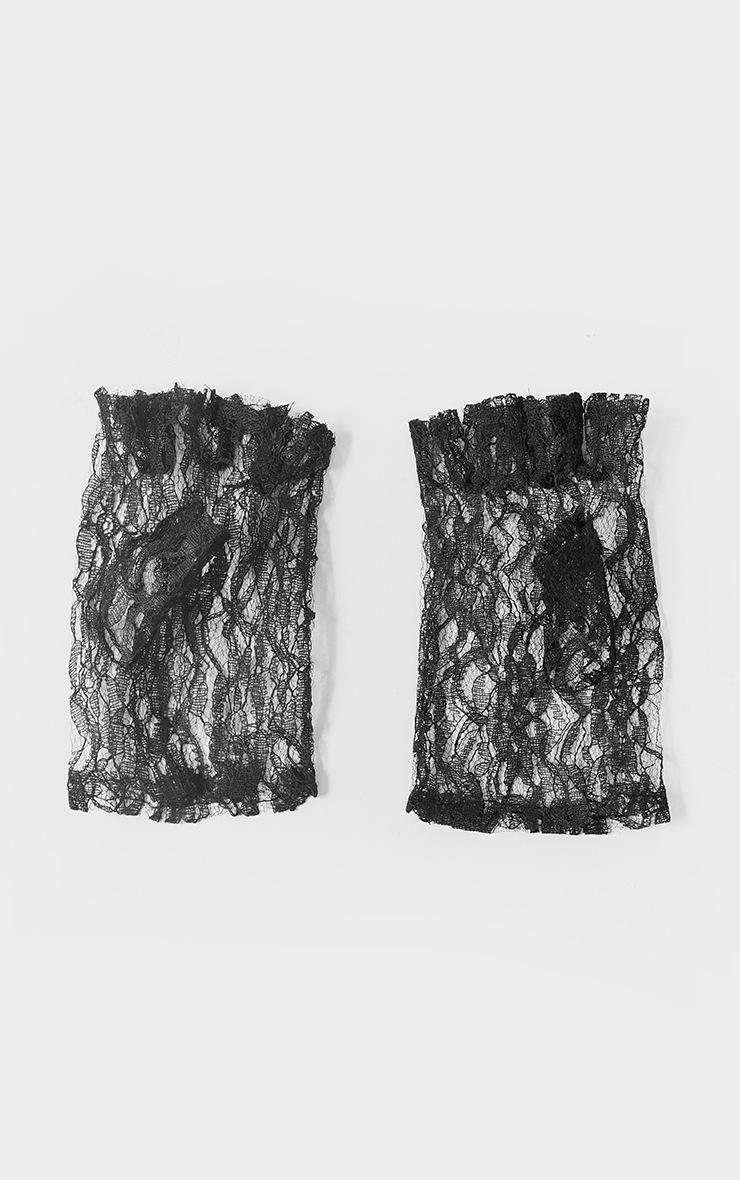 Black Fingerless Lace Gloves 2