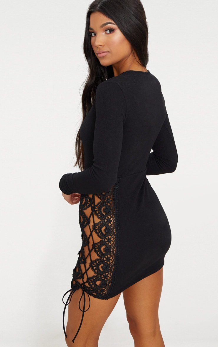 Black Lace Up Side Long Sleeve Bodycon Dress 2