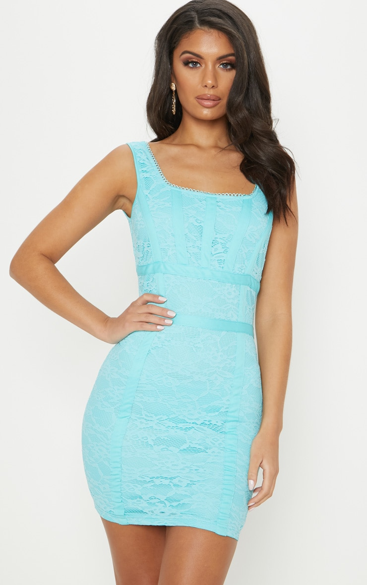 Bright Blue Lace Square Neck Panelled Bodycon Dress 1
