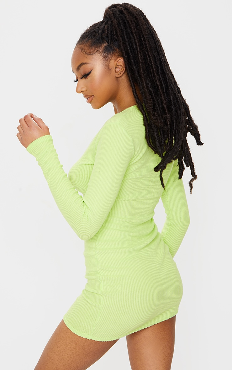 Lime Brushed Rib Long Sleeve Bodycon Dress 2