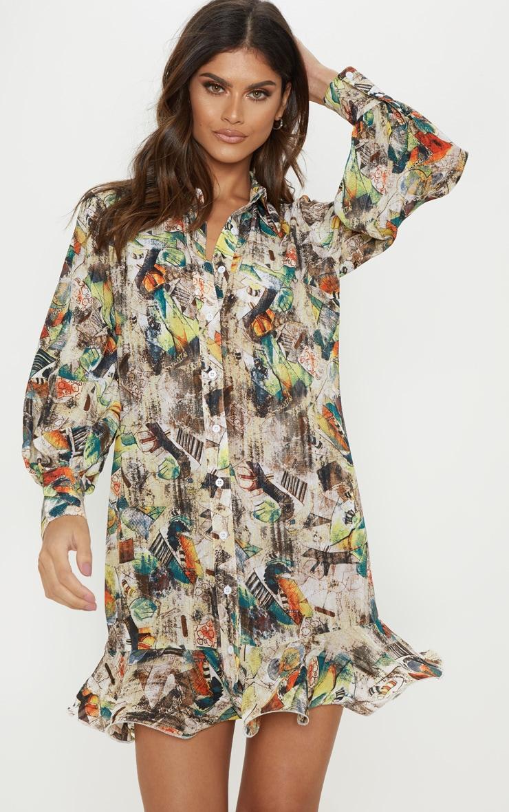 Nude Abstract Print Frill Hem Shirt Dress 4