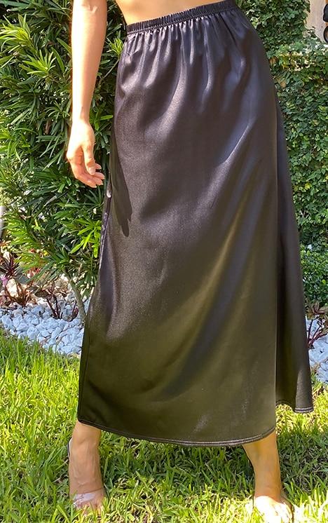Tall Black Satin Midi Skirt 2