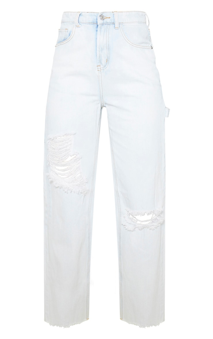 Bleach Wash Cargo Distressed Baggy Jeans 3