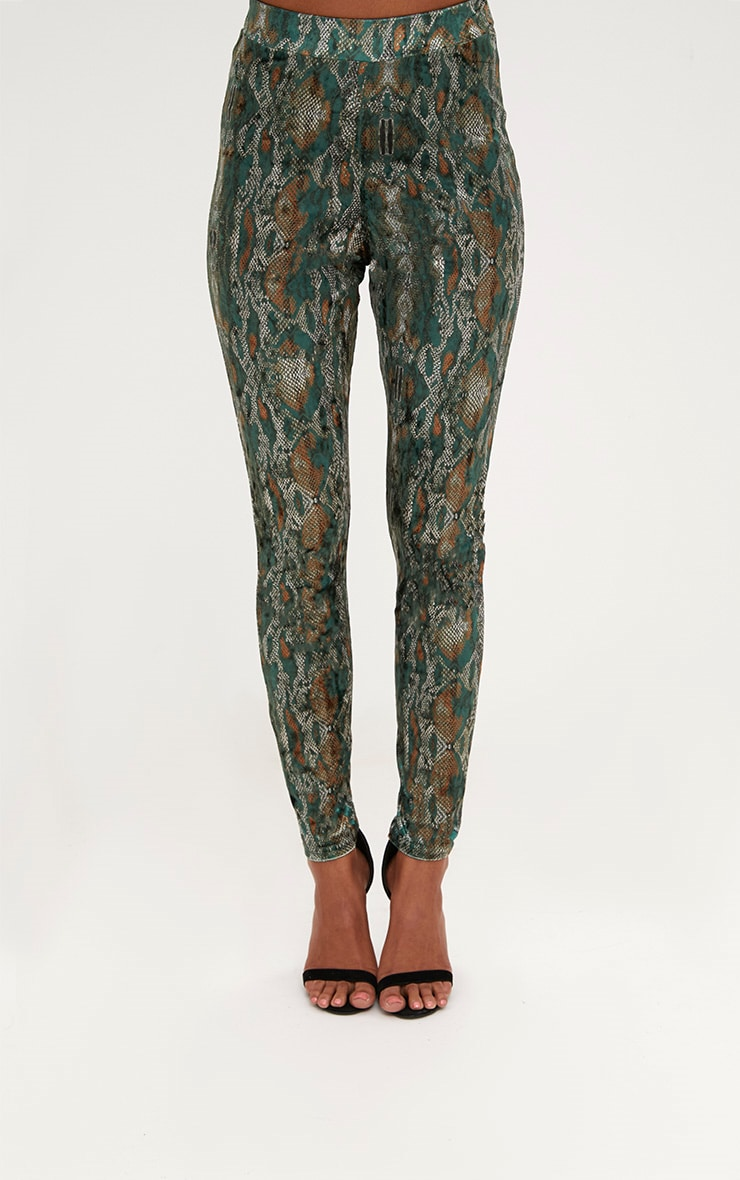 Green Velvet Snake Print Skinny Trousers 2