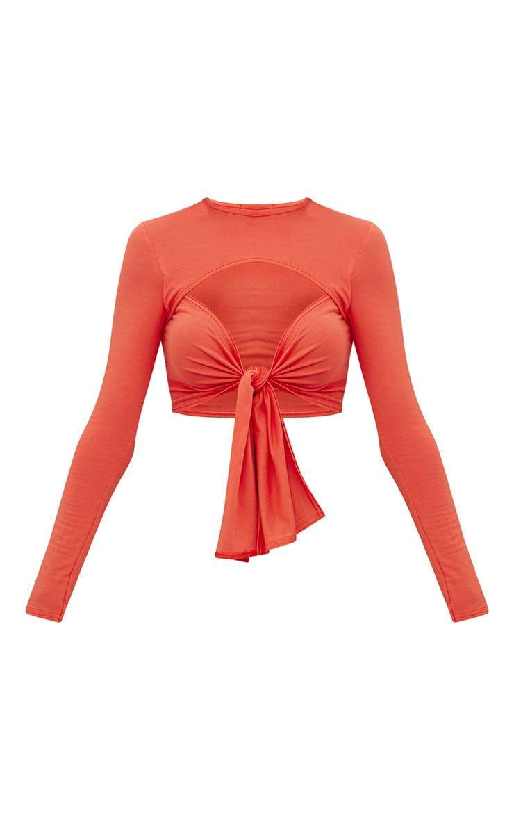 Orange Cut Out Tie Front Longsleeve Crop Top 3