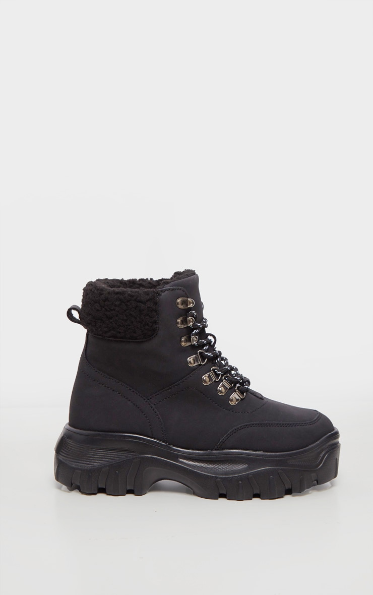 Black Faux Fur Detail Chunky Hiker Boot 4