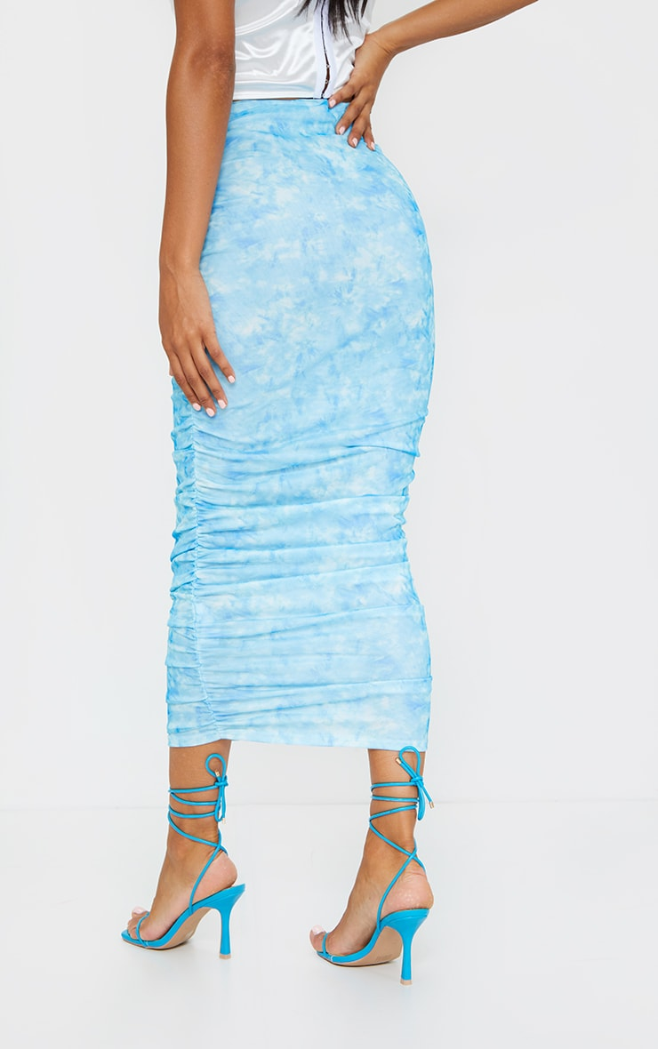 Blue Tie Dye Mesh Ruched Midi Skirt 3