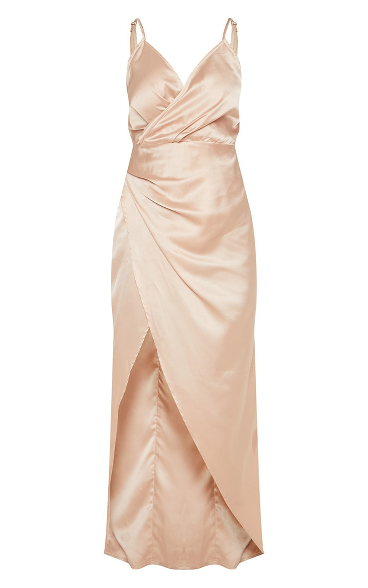 Petite Champagne Satin Wrap Detail Maxi Dress 3