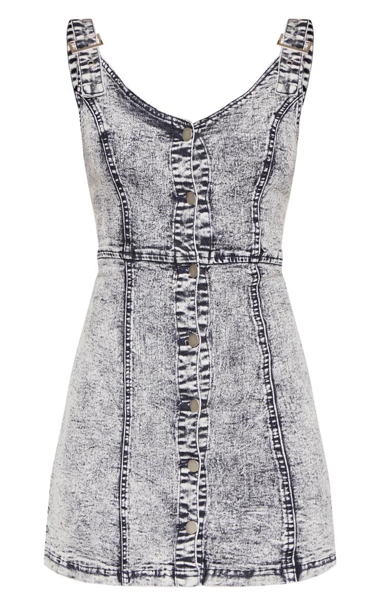 Robe blouse boutonnée en jean noir blanchi 3