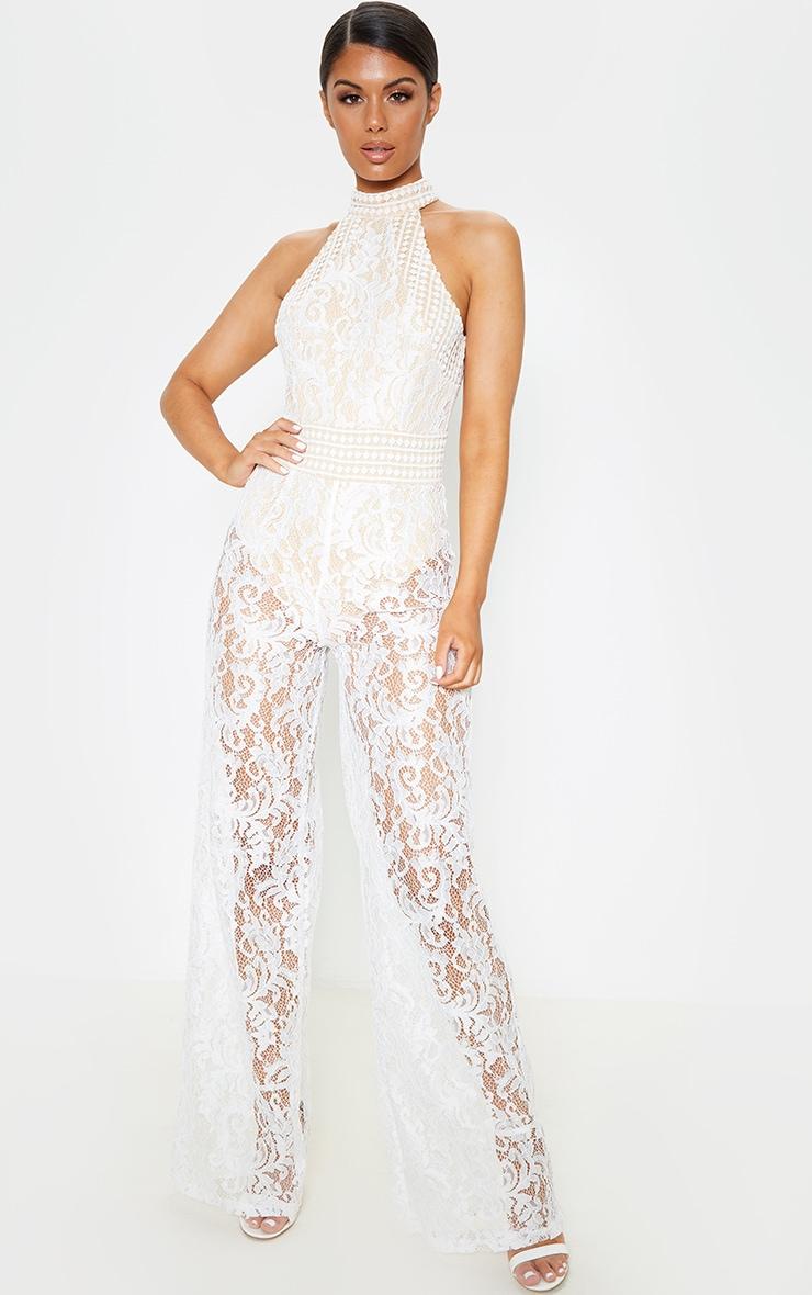 White High Neck Lace Jumpsuit 1