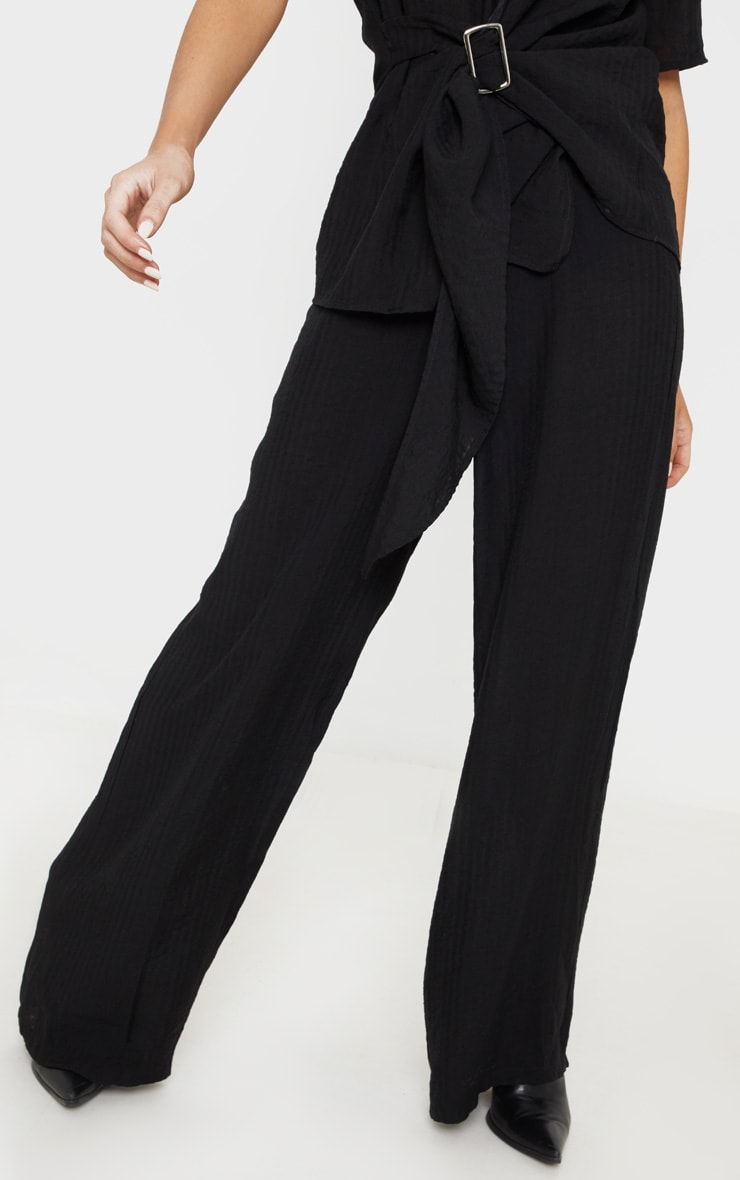 Black Cotton Wide Leg Trouser 2