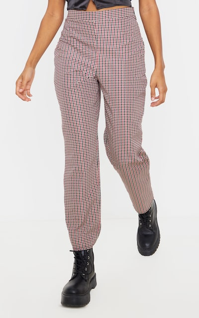 Black Checked Woven Cigarette Trouser
