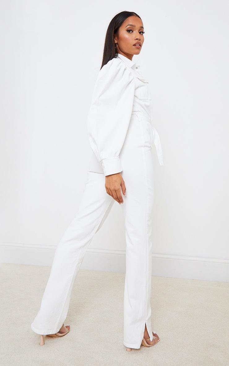 Petite White Balloon Sleeve Denim Split Hem Jumpsuit 2