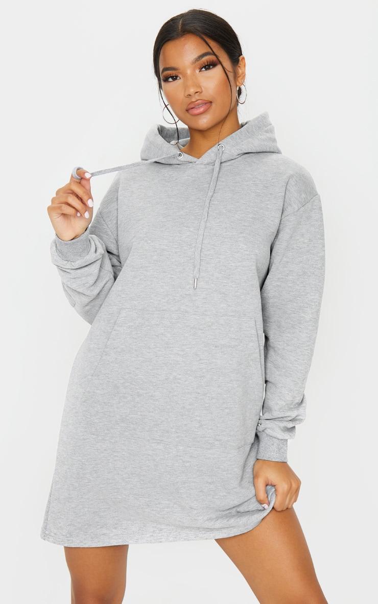 Grey Pocket Sleeve Hoodie Sweater Dress 3