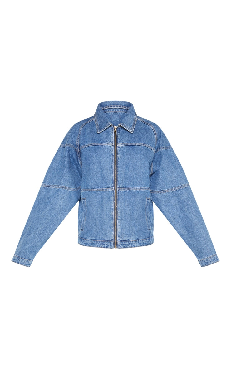 Mid Wash Oversized Trucker Boyfriend Denim Jacket 3
