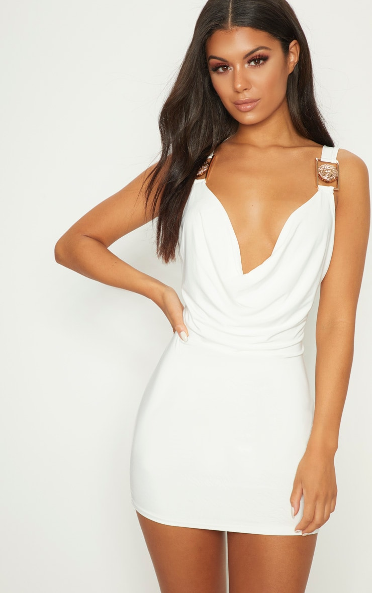 White Lion Buckle Cowl Neck Slinky Bodycon Dress 1