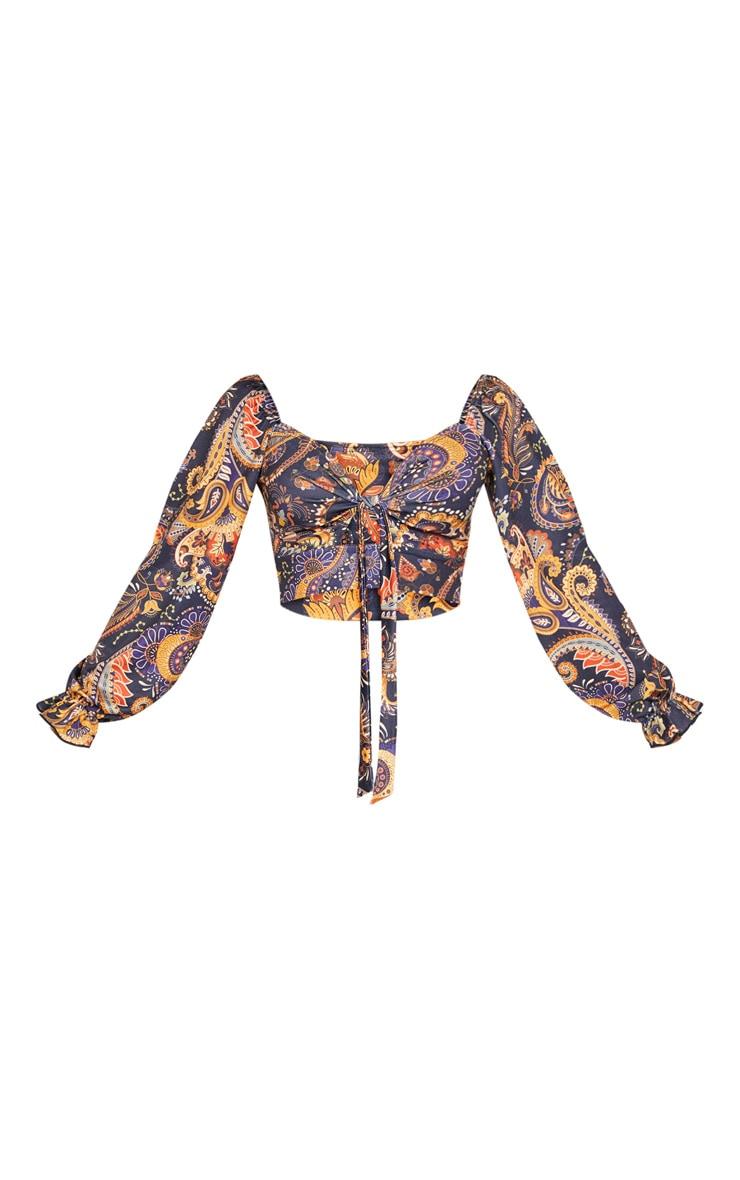Navy Paisley Printed Puff Long Sleeve Tie Front Crop Top 3