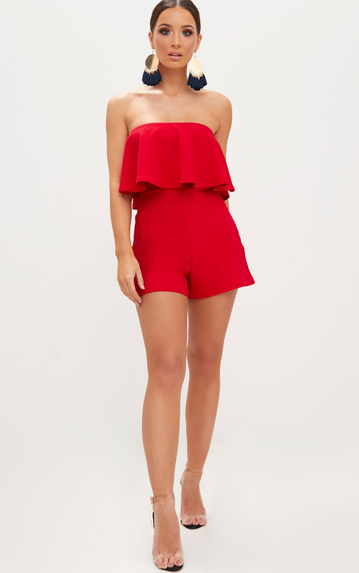 Red Double Layer Playsuit 4