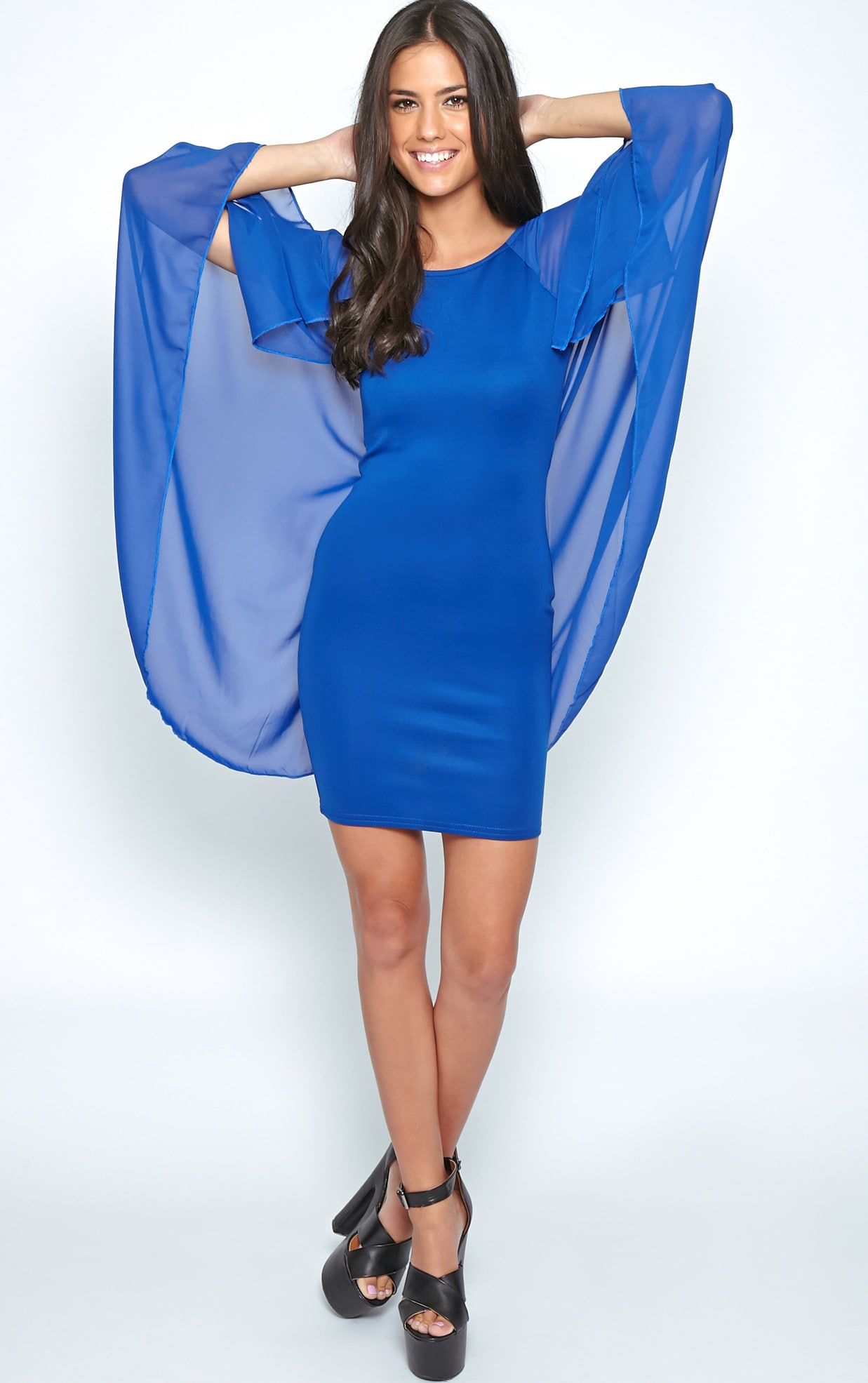 Kayte Cobalt Bodycon Dress With Chiffon Batwing Sleeves 4