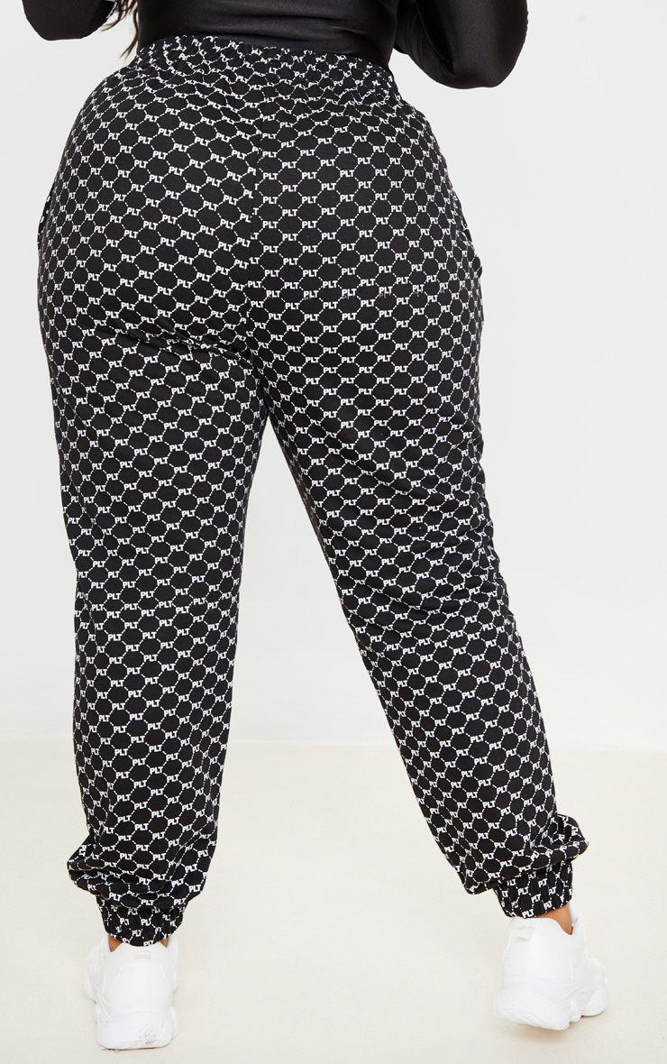 PRETTYLITTLETHING Plus Black Logo Printed Joggers 3