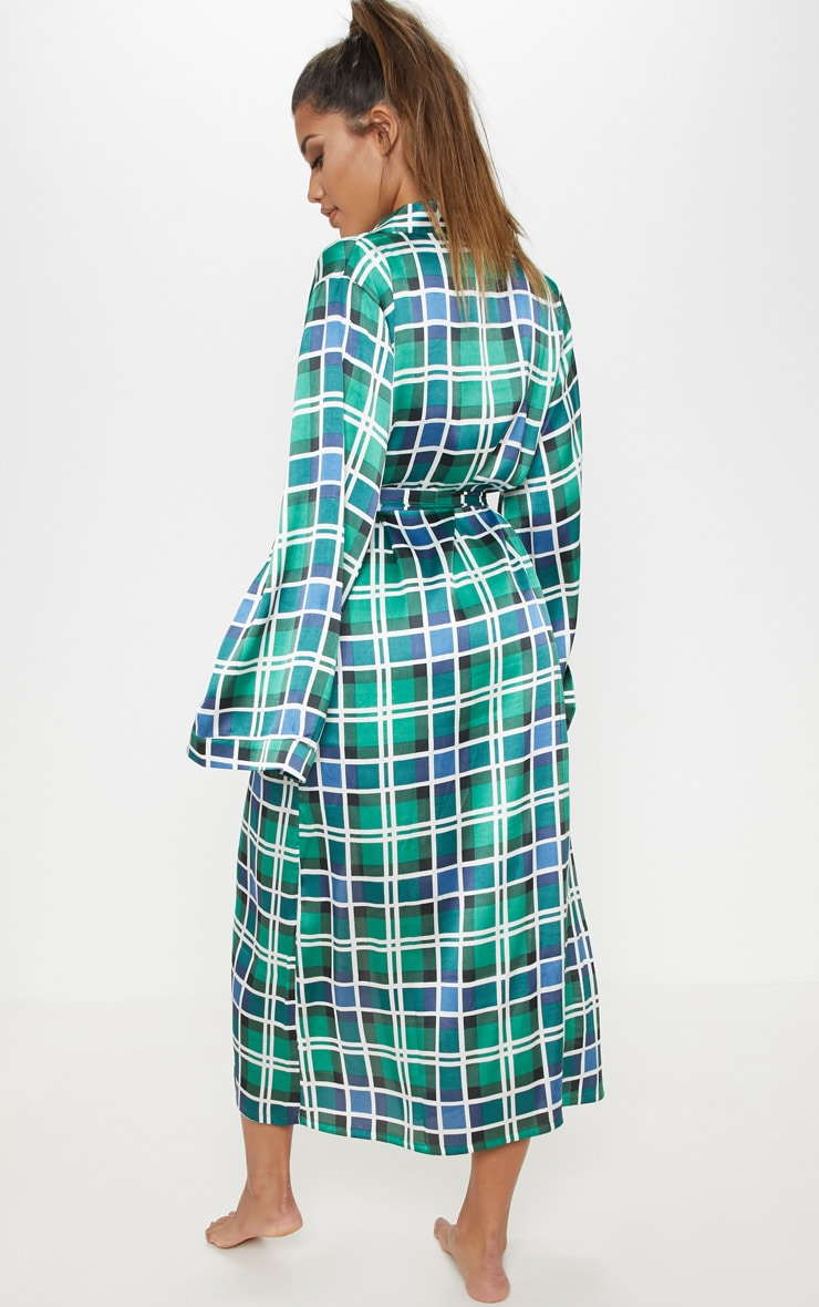 Green Check Print Long Sleeve Satin Robe 2