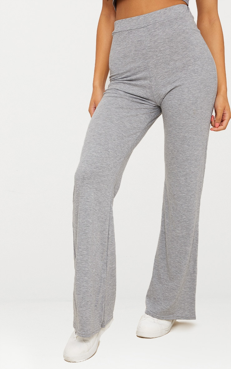 Grey Marl Basic Jersey Wide Leg Pants  2