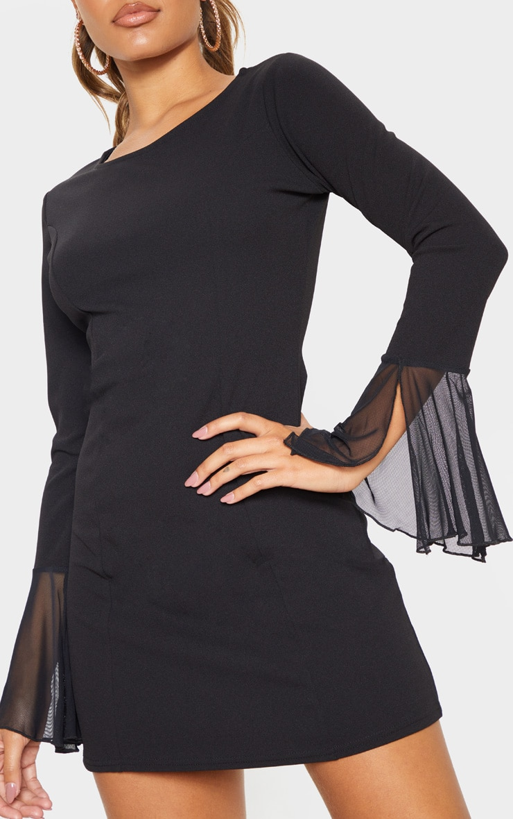 Black Frill Sleeve Detail Shift Dress 5